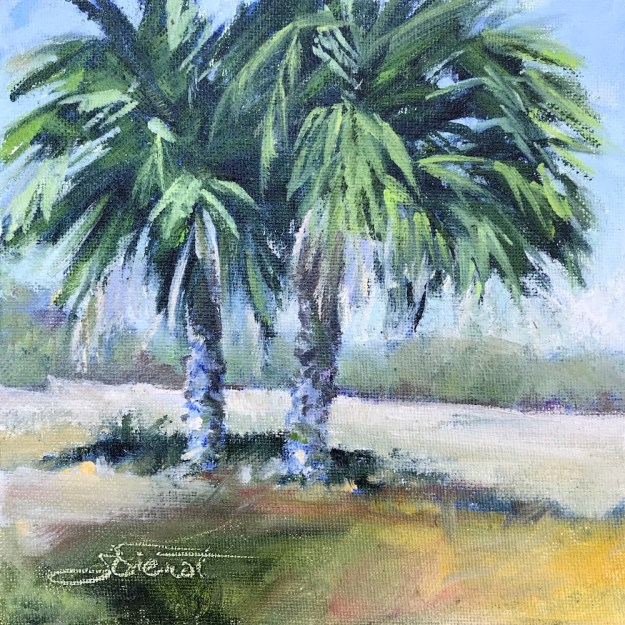 Oil painting of two palms in a meadow, the first of a Five-Day challenge, to paint a painting every day for five days