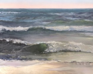 Oil painting in progress, waves coming in from the Gulf of Mexico