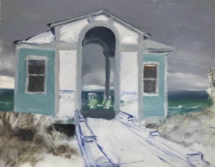 Incomplete oil painting, study of Tupelo Pavilion in Seaside, FL, en plein air