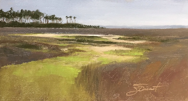 Oil painting of the lime-green foliage and purple grasses of the marsh at Nick's Hole on St. George Island, FL