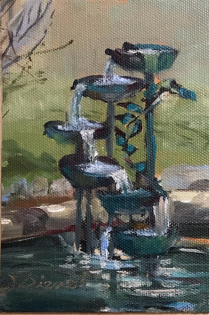 Study of the fountain in the courtyard at Inglenook, Brighton, CO