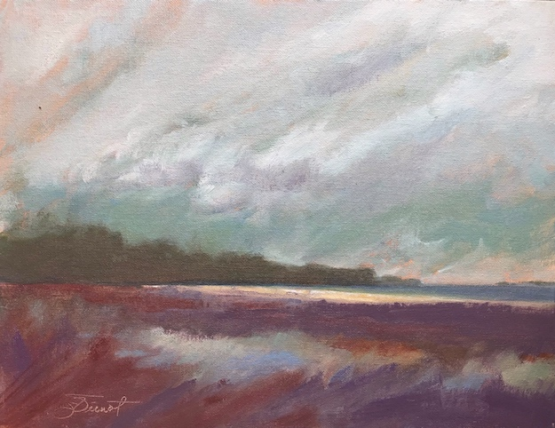 Oil painting of artist's impression and memories of the marsh at the canoe and kayak launch on Cape San Blas, Port St. Joe, FL