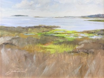 Oil painting of the marsh from the deck of Scallop Republic on the way to Cape San Blas, Port St. Joe, FL