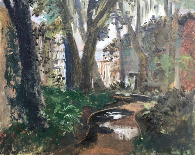 Oil painting of the patio behind the Bay Restaurant in Santa Rosa Beach, FL, after a torrential downpour