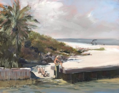 Oil painting of the canal beach entry at Mexico Beach, the summer before Hurricane Michael.