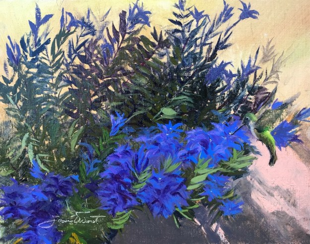 Oil painting of a hummingbird feeding on gentian in Mrs. Walsh's Garden, a city park in Estes Park, Colorado