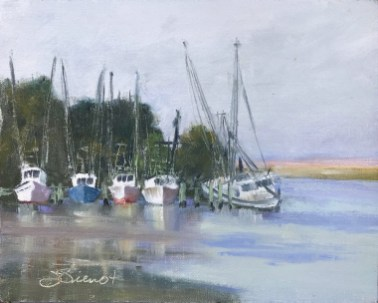 Oil painting of a row of shrimp boats at Scipio Creek, one of them sunken and tipped