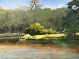Oil painting of the bright light on the neighbor's lawn across Mallet Bayou, painted from Brenda's dock