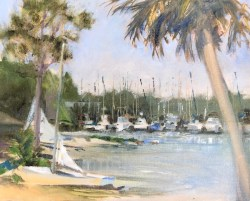 Oil painting of the shoreline and harbor at Ft. Walton Yacht Club, with small sailboats beached and fishing boats docked