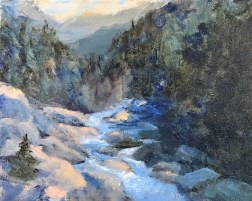 Oil painting of a rocky stream in the mountains, under waning light