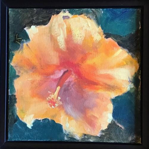 Orange hibiscus oil painting on canvas panel