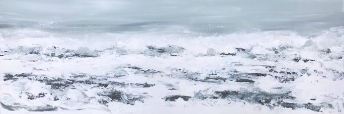 Acrylic palette knife painting of the surf on a foggy day, with muted color