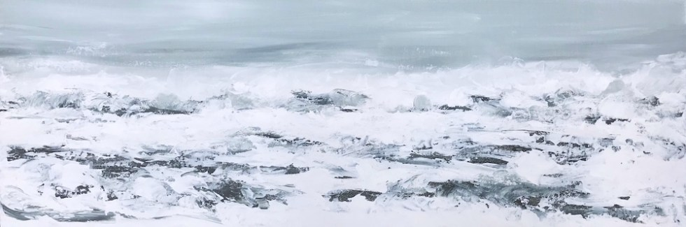 Acrylic paletter knife painting of the surf on a foggy day, with muted color