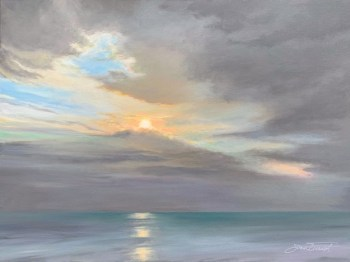 Oil painting of the subtle colors of the sunrise against a gray cloud and aqua waters of Cape San Blas