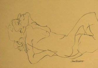 Blind Contour Female Reclining on Elbows