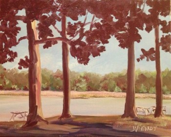 Oil painting of Tucker Bayou Through the Trees at Eden Gardens State Park