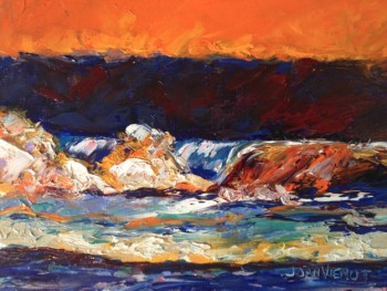Oil painting of a wave, painted with bright colors as a value study of color, in Julie Gilbert Pollard workshop
