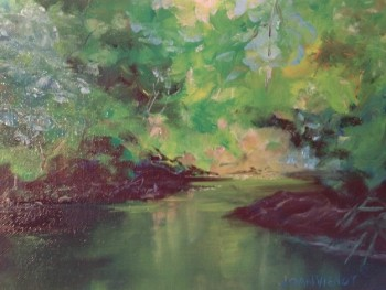 Oil painting of reflecting water scene, in Julie Gilbert Pollard workshop - first try