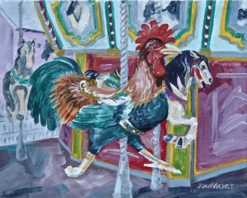 Oil painting of a carousel, showing the rooster