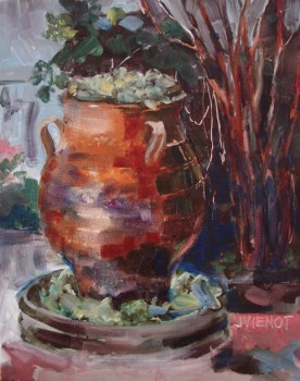Oil painting of jug fountain filled with plants at Grayt Grounds of Monet Monet
