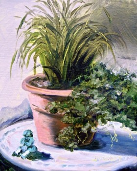 Oil painting of potted plant and cherub at Grayt Grounds of Monet Monet