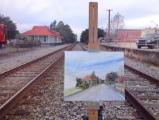 Painting the Depot and tracks, half-done