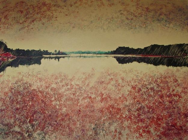 Oil painting of Tucker Bayou in warm tones, stylized from photo app, www.joanvienot.com