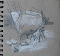 2014-0508 Thumbnail Sketch, Boat in Drydock