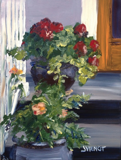 Oil painting of potted blooming geraniums and rosebush on steps to shotgun house in New Orleans, painted plein air