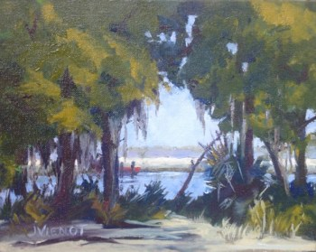 Oil painting of Gascoigne Bay looking through the trees and brush