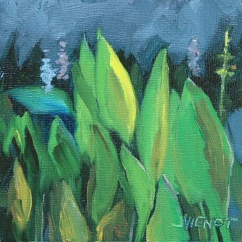 Small plein air oil painting of wetlands plants along Four Mile Creek in Freeport, FL