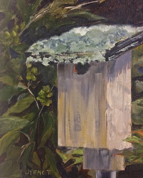Oil painting of the deer moss and lichen on a birdhouse in the trees