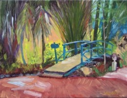 Oil painting of the bridge and garden at Grayt Grounds of Monet Monet, plein air preparation for painting a wedding couple's first dance
