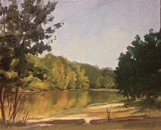 Oil painting of th early fall colors reflected in Beaver Lake, Oak Mountain State Park, Alabama