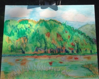 Oil pastel painting of early fall colors on the mountain behind Beaver lake at Oak Mountain State Park, by Leslie Kolovich