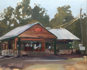 Plein air oil painting of the Red Bay Grocery, Red Bay, FL