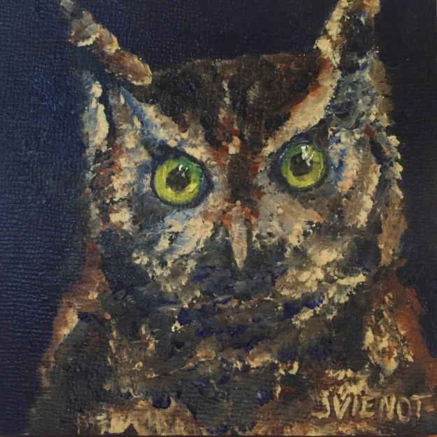 Oil painting miniature of the head of a screech owl