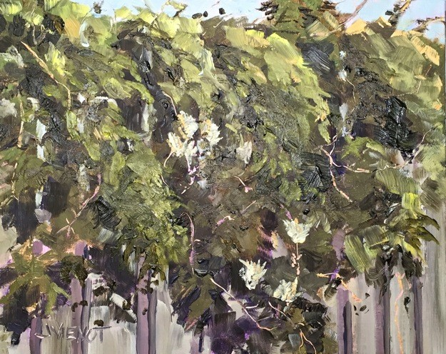 Oil painting of blackberry leaves and honeysuckle cascading over a fence at The Boathouse Landing in Valpariaso, FL