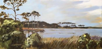 """Oil painting of the slash pines forming the iconic """"umbrella trees' of Western Lake at Grayton Beach, FL, painted en plein air"""