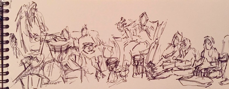 Pen-and-ink sketch of drummers in a drum circle