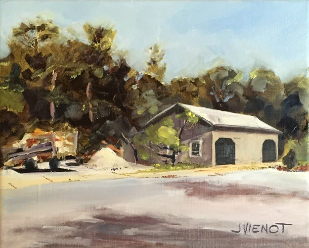 Oil painting of the barn and grounds trailer at Coffeen Nature Preserve, Miramar Beach, Florida