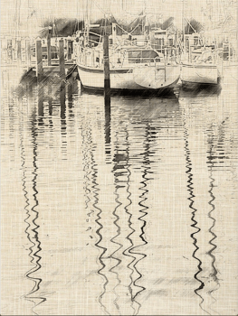 Photo of boats in marina, and reflections, edited with My Sketch app