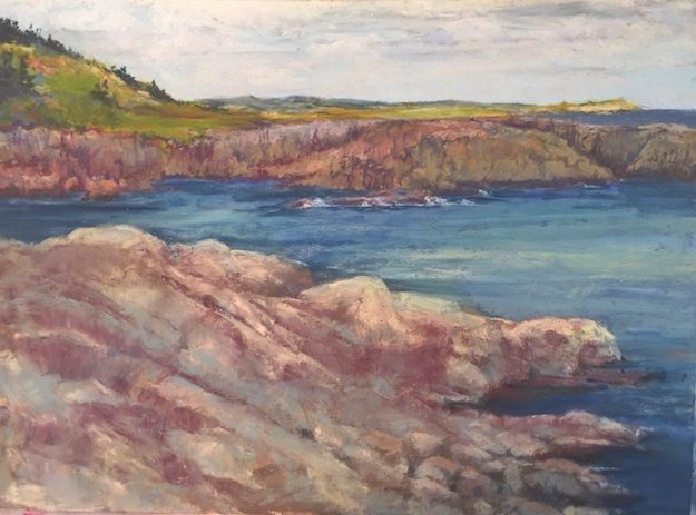 Pastel painting of a cove clifflike in Nova Scotia