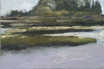 Oil painting of the marsh from Salina Park, Cape San Blas, Port St. Joe, FL