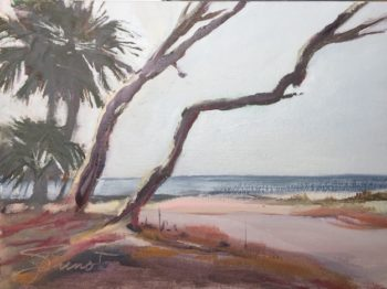 Oil painting of two angled tree trunks at Port St. Joe at FCenPA Quickdraw