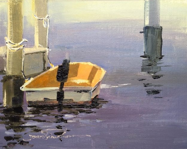 Oil painting of an orange dinghy tied to the dock, Ft. Walton Landing Park, Ft. Walton Beach, FL
