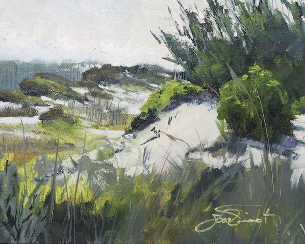 Oil painting of the dunes south of Western Lake, at Grayton Beach State Park