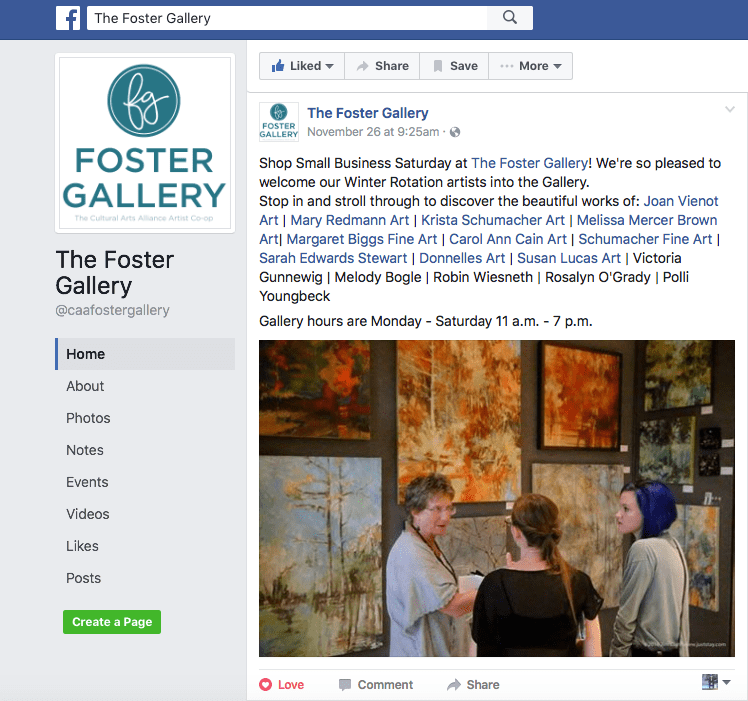 The Foster Gallery Facebook page screenshot