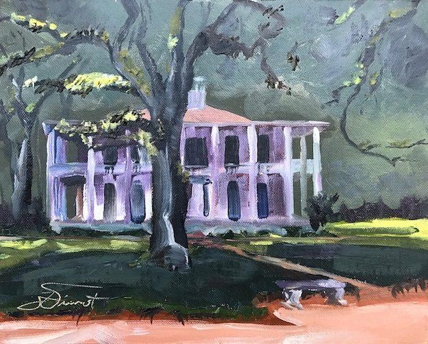 Oil painting of the mansion at Eden Gardens State Park in Pt. Washington, FL, painted en plein air