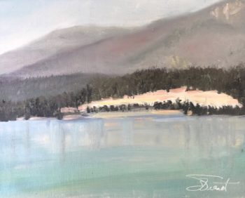 Oil painting of the road cut across Dickey Lake, MT, on a day hazy from the smoke of forest fires in BC, Canada.